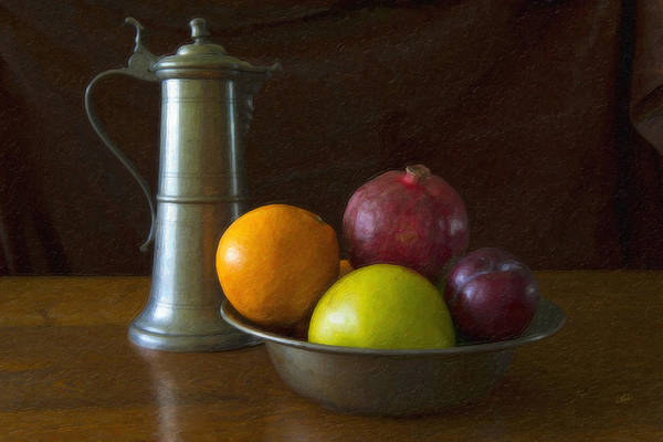 Painting - Pewter Ewer And Fruit by Dean Wittle