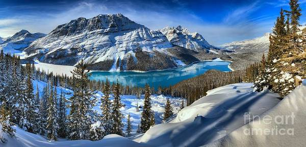 Peyto Lake Wall Art - Photograph - Peyto Lake Winter Panorama by Adam Jewell