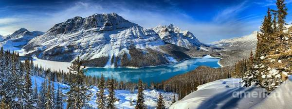 Peyto Lake Wall Art - Photograph - Peyto Lake Winter Paradise Panorama by Adam Jewell