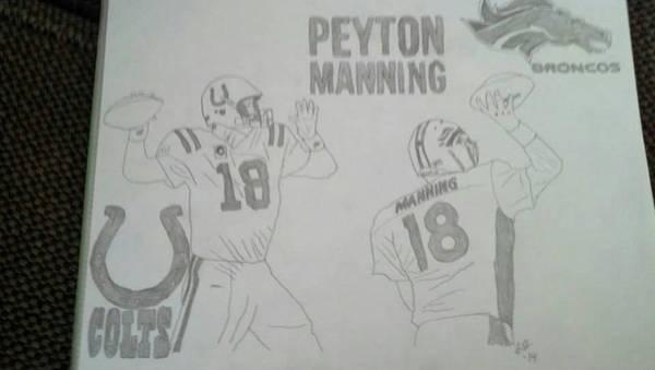 Super Bowl Drawing - Peyton Manning by Stephanie Deskins
