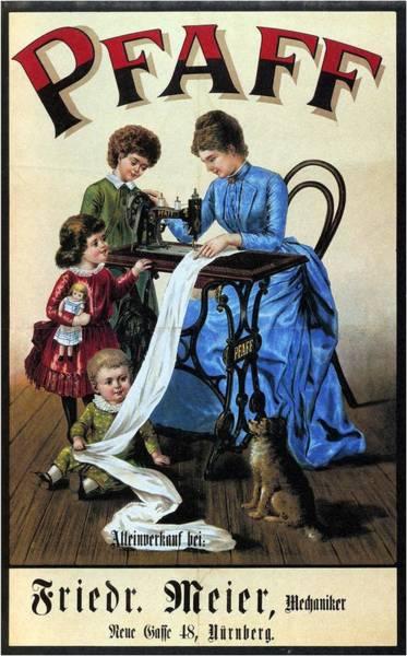 Art Nouveau Mixed Media - Pfaff - Sewing Machine - Vintage Advertising Poster by Studio Grafiikka