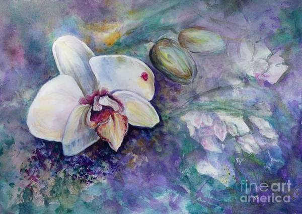 Painting - Phalaenopsis Orchid With Hyacinth Background by Ryn Shell