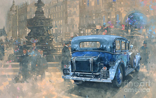 Old Car Wall Art - Painting - Phantom In Piccadilly  by Peter Miller