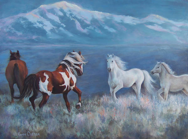 White Horse Wall Art - Painting - Phantom Of The Mountains by Karen Chatham