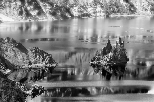 Photograph - Phantom Ship Island In Mist Crater Lake  B W by Frank Wilson