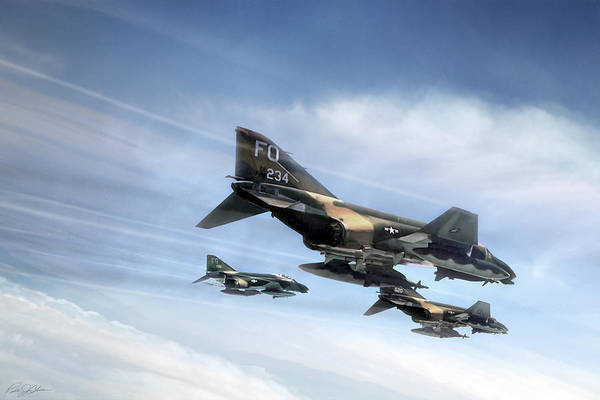 F-4 Wall Art - Digital Art - Phantom Strike Force by Peter Chilelli