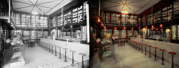 Photograph - Pharmacy - Bertrams Ghosts 1909 - Side By Side by Mike Savad