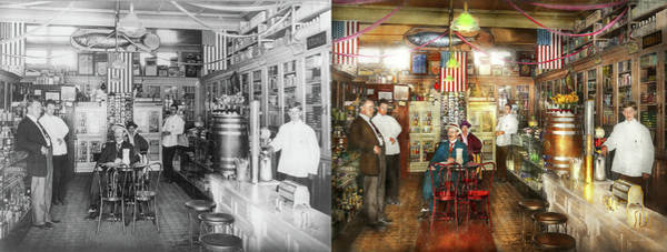 Photograph - Pharmacy - Collins Pharmacy 1915 - Side By Side by Mike Savad
