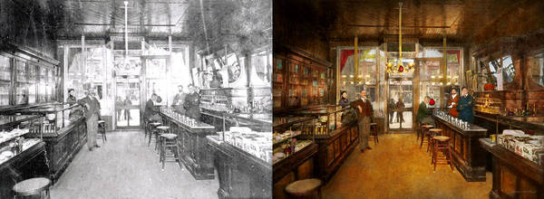Photograph - Pharmacy - Congdon's Pharmacy 1910 - Side By Side by Mike Savad
