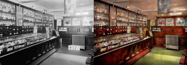 Wall Art - Photograph - Pharmacy - We Have The Solution 1934 - Side By Side by Mike Savad