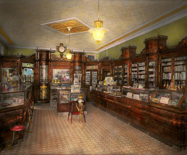 Photograph - Pharmacy - Weller's Pharmacy 1915 by Mike Savad