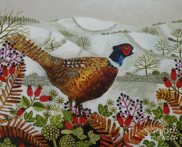 Wall Art - Painting - Pheasant And Snowy Hillside by Vanessa Bowman