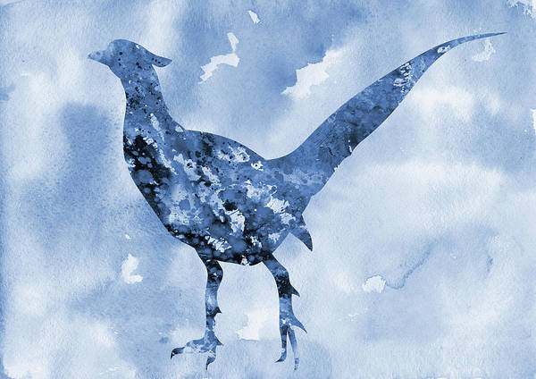 Pheasant Digital Art - Pheasant-blue by Erzebet S