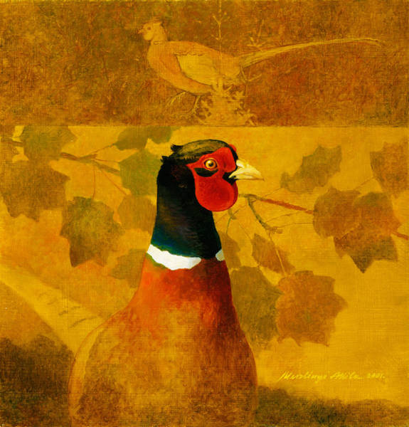 Painting - Pheasant In Yellow by Attila Meszlenyi