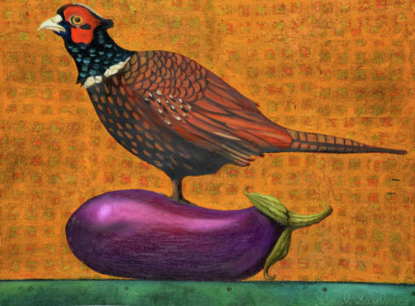 Painting - Pheasant On An Eggplant by Leah Saulnier The Painting Maniac