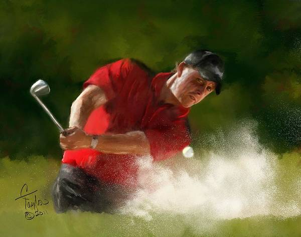 Golf Painting - Phil Mickelson - Lefty In Action by Colleen Taylor