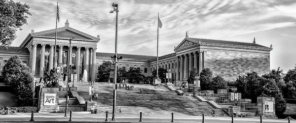 Photograph - Philadelphia - Art Museum  - Rocky Steps In Black And White by Bill Cannon