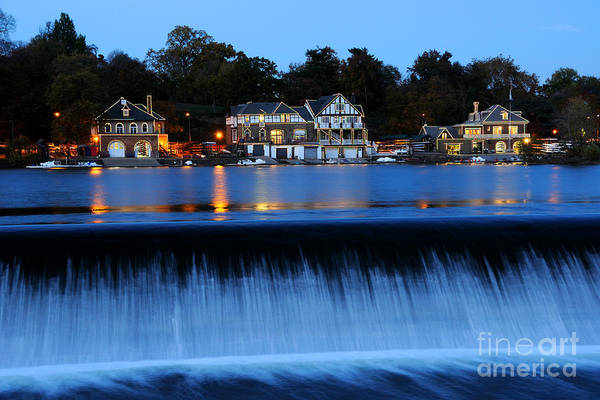 Dam Wall Art - Photograph - Philadelphia Boathouse Row At Twilight by Gary Whitton