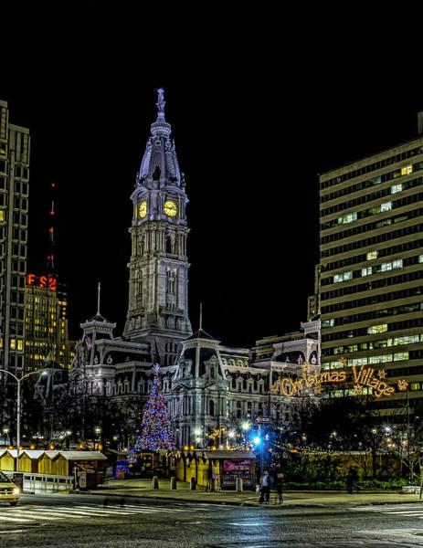 Photograph - Philadelphia City Hall And Christmas Village by Nick Zelinsky