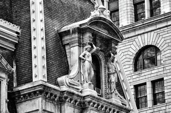 Photograph - Philadelphia City Hall Window In Black And White by Bill Cannon