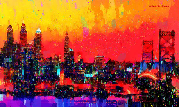 Versus Digital Art - Philadelphia City Skyline 100 - Da by Leonardo Digenio