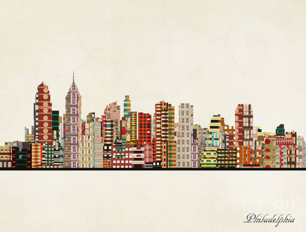 Philadelphia Cityscape Wall Art - Painting - Philadelphia City Skyline by Bri Buckley