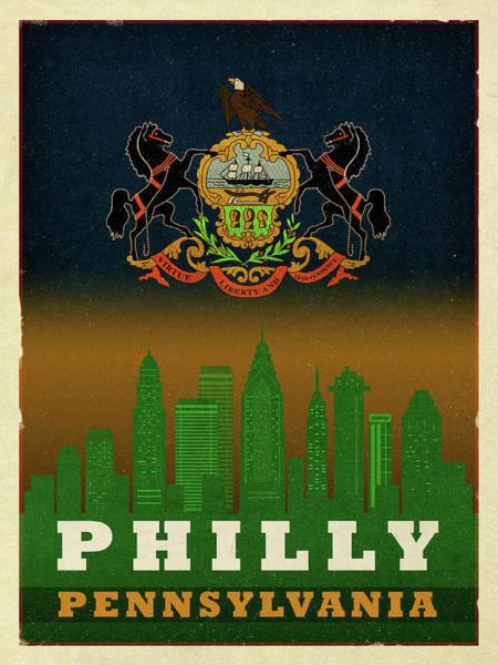 Wall Art - Mixed Media - Philadelphia City Skyline State Flag Of Pennsylvania Art Poster Series 014 by Design Turnpike