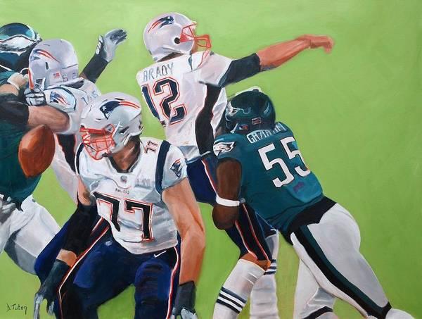 Painting - Philadelphia Eagles Strip-sack Of Tom Brady In Super Bowl Lii  by Donna Tuten