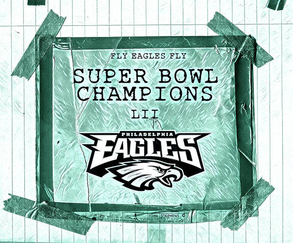 Wall Art - Photograph - Philadelphia Eagles Super Bowl Champions  L I I  Locker Room Tape Up Announcement With Texture by John Stephens