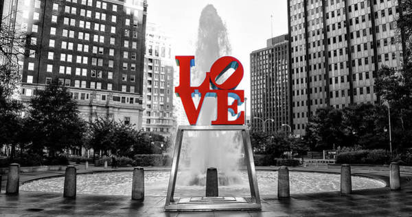 Wall Art - Photograph - Philadelphia - Love Statue - Black And White And Color by Bill Cannon