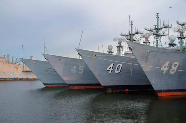 Wall Art - Photograph - Philadelphia Navy Yard - Retired Fleet by Bill Cannon