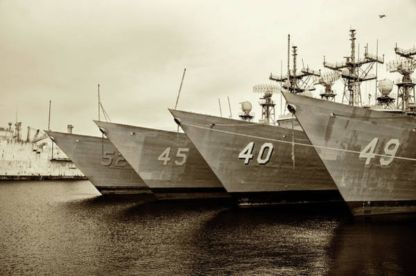 Photograph - Philadelphia Navy Yard - Retired Fleet In Sepia by Bill Cannon