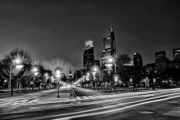 Photograph - Philadelphia - Night - The Parkway In Black And White by Bill Cannon