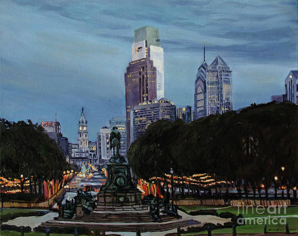 Courthouse Painting - Philadelphia Nightfall by Christopher Buoscio