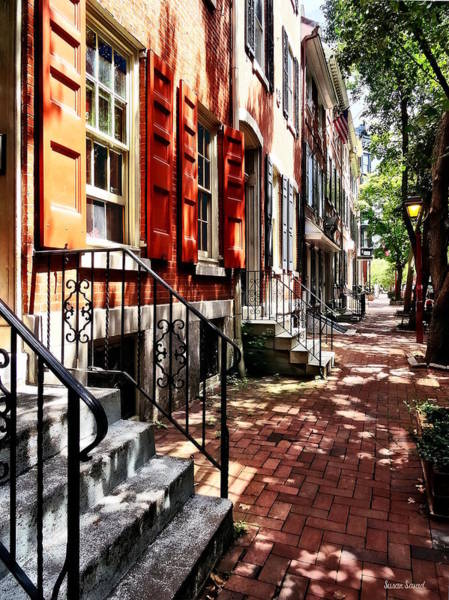 Photograph - Philadelphia Pa Street With Orange Shutters by Susan Savad