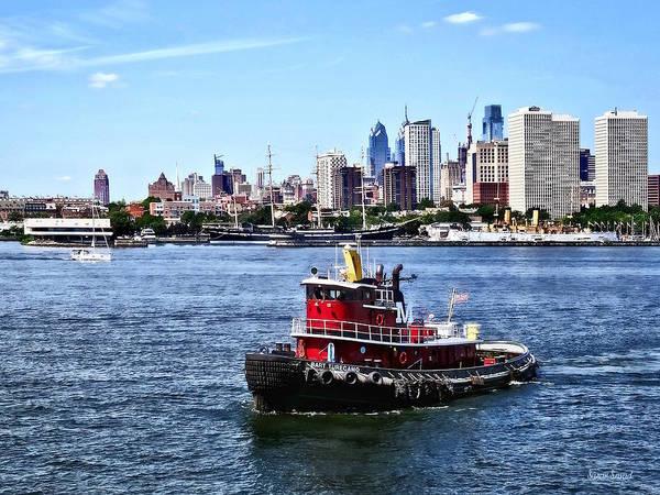 Photograph - Philadelphia Pa - Tugboat By Philadelphia Skyline by Susan Savad