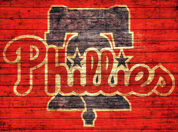 Citizens Bank Park Wall Art - Mixed Media - Philadelphia Phillies Barn Door by Dan Sproul