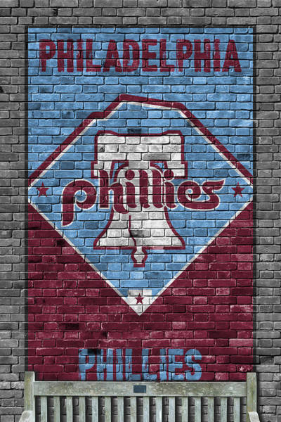 Wall Art - Painting - Philadelphia Phillies Brick Wall by Joe Hamilton