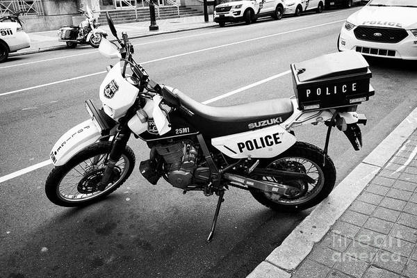 Dirt Bike Photograph - Philadelphia Police Suzuki Enduro Dirt Bike Patrol Vehicle Usa by Joe Fox
