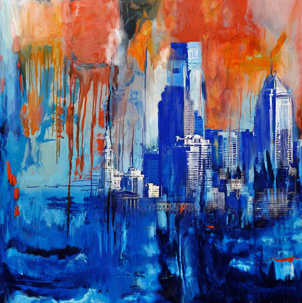 Wall Art - Painting - Philadelphia Skyline 227 1 by Mawra Tahreem