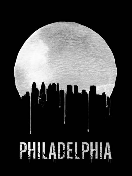 Philadelphia Cityscape Wall Art - Painting - Philadelphia Skyline Black by Naxart Studio