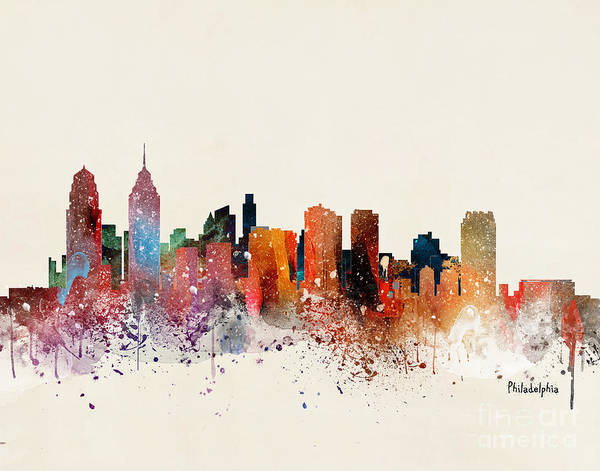 Wall Art - Painting - Philadelphia Skyline by Bri Buckley