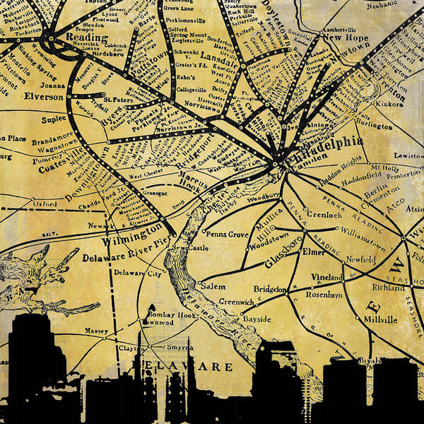 Philadelphia Phillies Digital Art - Philadelphia Skyline Map by Brandi Fitzgerald
