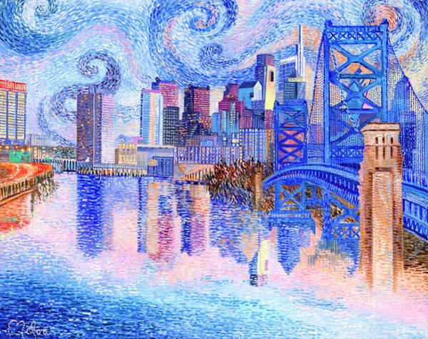 Philae Painting - Philadelphia Skyline Painting by Perry Milou