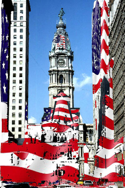 Mixed Media - Philadelphia Stars And Stripes Collage by Peter Potter