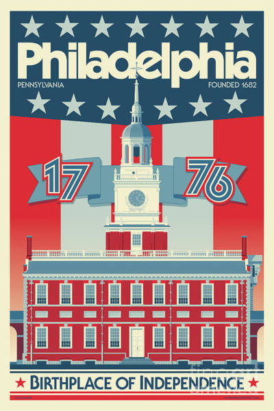 Declaration Of Independence Wall Art - Digital Art - Philadelphia Poster - Independence Hall by Jim Zahniser