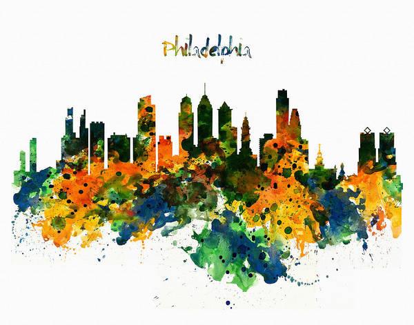Aquarelle Painting - Philadelphia Watercolor Skyline by Marian Voicu