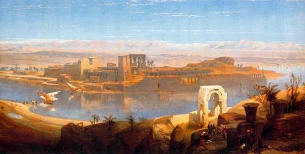 Philae Painting - Philae In Nubia by David Roberts