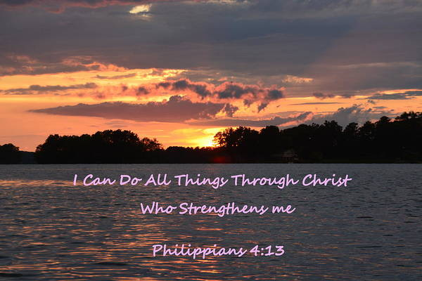 Photograph - Philippians 4 13 Sunset by Lisa Wooten