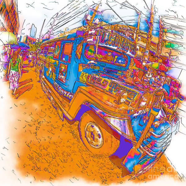 Drawing - Philippine Girl Walking By A Jeepney by Rolf Bertram
